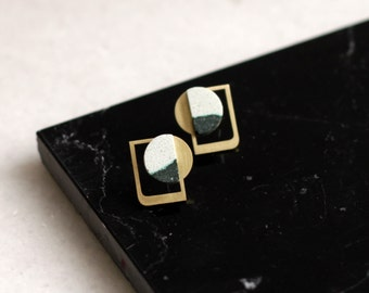 EMIL Brass and stone graphic stud earrings in green and gold