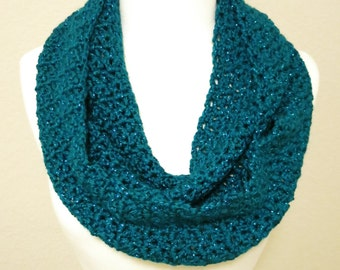 Crochet Infinity Scarf in Sparkly Teal