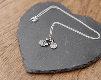 Bicycle Silver Necklace • Mothers Day gift present for mum girlfriend wife, jewellery, jewelry, sterling silver, cycling, bike, tour france
