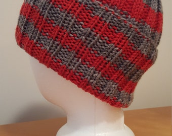 Men's Scarlet and Grey Knit Winter Hat