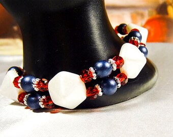 1470 - Bracelet, red white and blue, blue pearls, red crystals, white beads, 4th of July, Independence Day, Flag Day Memorial Day, Stretch