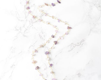 Golden Day Amethyst and Gold Fired Quartz on 14 KT Gold Filled Chain Necklace