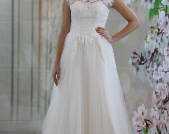 Boat neckline  V-back bridal gown, lace applique a-line wedding dress