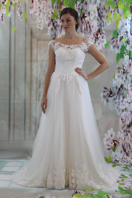 Boat neckline v back bridal gown lace applique a line for Boat neck lace wedding dress