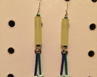 earrings w/ lime green, teal, and blue