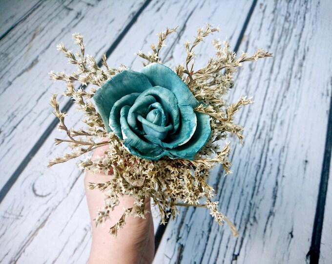 Flower girl wand turqoise teal rustic wedding Flower dried limonium burlap Bridesmaids sola roses vintage custom woodland