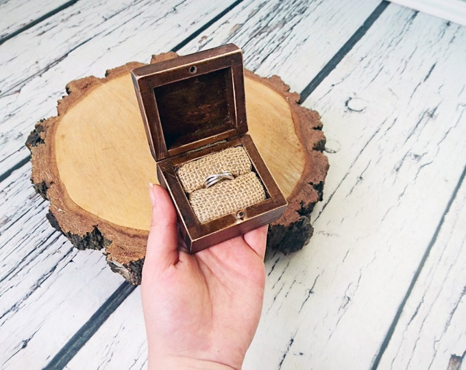 Rustic engagement ring box, wedding pillow rustic looking old vintage rustic wedding burlap  custom engraved wood burnt writing distressed