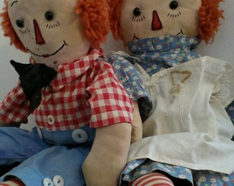 Pair of Vintage Raggedy Ann and Andy dolls circa 1954