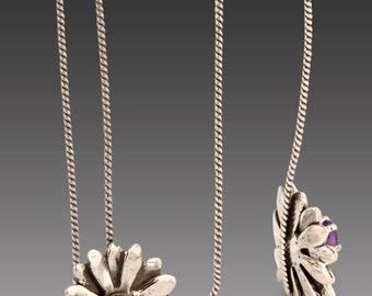 Sterling Silver Petal Design Earrings with Amethyst