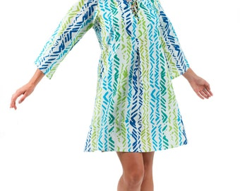 "Cotton Tunic Dress or Beach Cover Up - ""Ocean Breeze"" by Spirituelle"