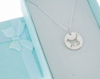 Cat charm necklace in sterling silver on a sterling silver chain.  Cat Necklace. Cat Jewelry. Cat Lover.