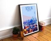 Berlin - Cityscape - Landmark Postcard Style Art Print (Available In Many Sizes)