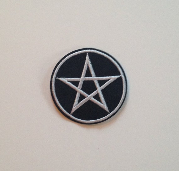 Black and White Pentagram Iron on Patch