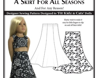 A Skirt for All Seasons - Kidz n Cats Doll Sewing Pattern