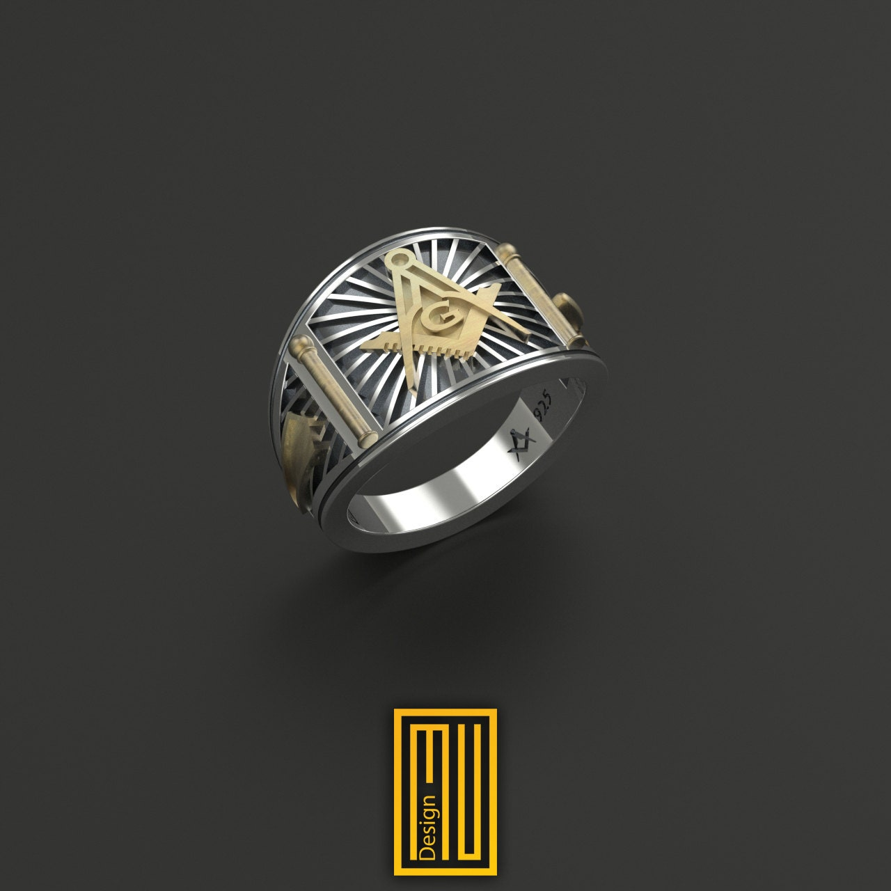 cigar band style masonic ring unique design for 925k
