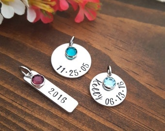Your Choice of Additional Discs With Birthstone Charm   Add on ONLY   Small Round Disc   Medium Round Disc   Rectangle Tag
