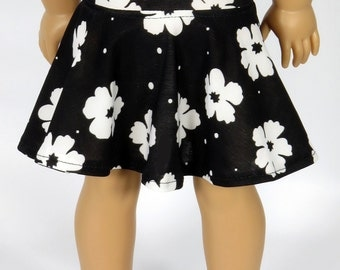 American Girl Doll Clothes.  Black Knit Skater Skirt with White Flowers