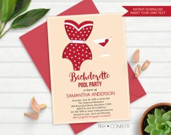 bachelorette pool party, bachelorette pool party invitation, bachelorette pool invitation, bachelorette party invitation, retro, instant
