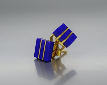 Stud earrings with Lapis Lazuli and 18K gold - gift idea - square earrings - solid gold - high quality afghan Lapis - geometrical design