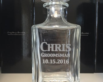 Groomsmen Decanter, Personalized Decanter, Groom Gift, Groomsman Gift, Groom Gift from Bride, Will you be my Groomsman, Scotch Decanter