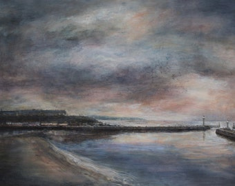 Whitby Harbour North Yorkshire Signed Limited Edition Coastal Seascape Landscape Beach Print from Original Oil Painting