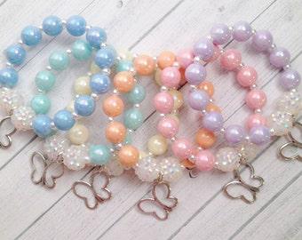 """6 - Butterfly charm bracelets Butterfly Birthday Party Favors 6.25"""" Pastel Butterfly bracelets Butterfly Party Favors Butterfly Jewelry"""