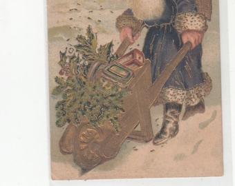 Lots Of Gold 1908 Antique Santa Claus Postcard-Blue Robe-Delivering Toys-Wheelbarrow-Sack