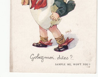 "Artist Wuyts Child Whimsical French English Postcard/Wearing Egg/S""Sample Me Won't You"" 1920s"
