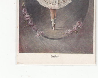 Little Girl In Ballet Dance/Ballerina Pose/Ballet Shoes/Dancing Antique Postcard