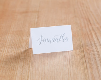 Silver Ink Calligraphy Place Cards