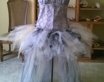Grey/ Silver studded corset w/tulle bustle, steampunk corset, burlesque corset,all sizes, costume.