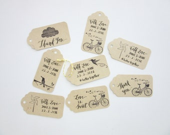 Hand-Stamped, Hand-Calligraphy Gift Tags - Thank you, Gift Tags, Wedding Favors, Party Favors, Party Supplies