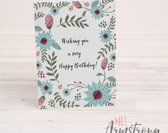 Birthday Greeting Card  - Floral Illustration - A6