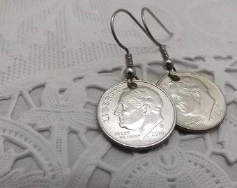 dime Coin earrings handmade drop dime  earrings, french hook for pierced ears, pierced earrings