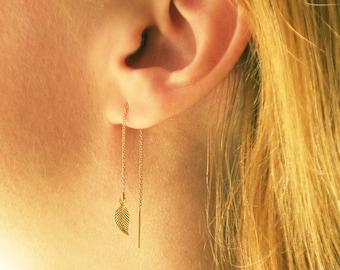 Gold Leaf Earrings, Gold Threader Earrings, Leaves Ear Thread Earrings, Tiny Leaves Earrings, Gold Earrings, Long Earrings, Chain Earrings