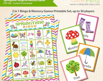 Springtime and Easter Bingo & Memory Game, Printable Spring and Easter Bingo Game, 2 in 1 Spring Themed Party Game Bingo and Memory Game