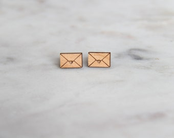 Wooden Envelope Earrings - Stud Earrings - Gifts for her - Lasercut - Wood Earrings.