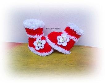Christmas Baby Booties, Santa Baby Booties, Crochet Baby boots, Red Booties, Crochet Baby Shoes, Santa Newborn Booties, Christmas boots