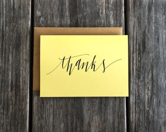 Hand Lettered Thank You Card Set, Thank You Note Card Set, Script Thank You Cards