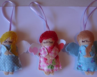 Angel Christmas Decoration, angel ornament, set of 3 handmade felt angels, cottage charm, holiday decoration, Australian gift, shabby chic