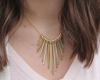 Gold and Silver Fringe Bib Necklace