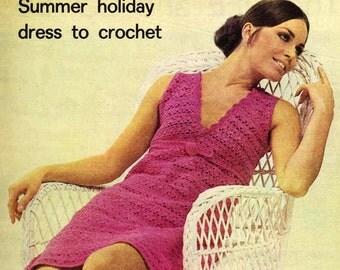 Crochet Dress, Crochet Pattern, Dress Pattern, Sizes 34 and 36 inch bust, Instant Download, Crochet Pattern, Vintage, 1960s