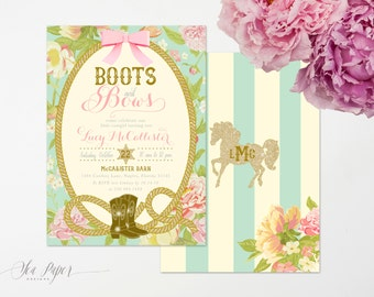 Boots & Bows Birthday Invitation, Cowgirl Birthday Invitation, Girl's Birthday Invite, Girl Cowgirl Birthday, Horses - Lucy