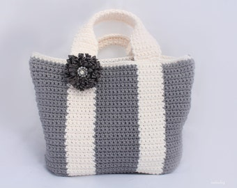 Crochet simple tote bag pattern, Bicolor bag Crochet purse pattern, shopping bag, summer bag, handbag, Instant download, gray and white tote
