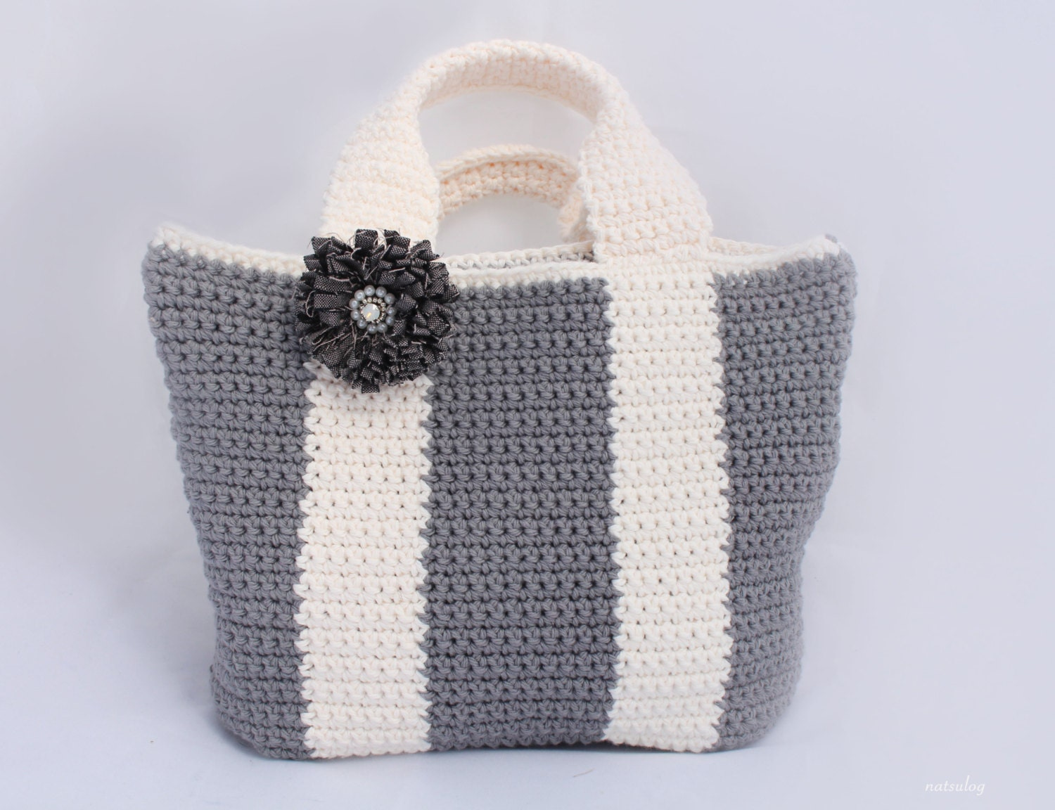 Easy Crochet Tote Bag Pattern : Crochet simple tote bag pattern Bicolor bag Crochet by Natsulog