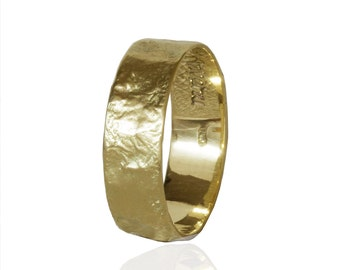 Male wedding ring 14k gold wedding band 7mm wide Rustic wedding ring