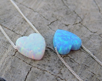 Opal necklace, heart necklace, silver necklace, opal heart necklace, silver heart necklace, silver opal necklace, blue opal jewelry