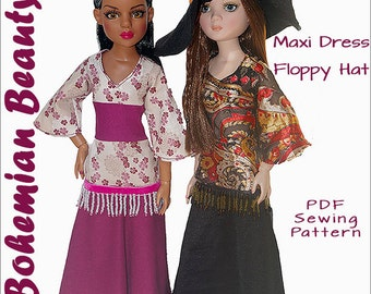 "BOHEMIAN BEAUTY Maxi Dress, Floppy Hat Sewing Pattern for 16"" Ellowyne Dolls also fits MiniFee, DIY Beaded Fringe - Instant Pdf Download"