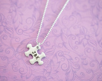 Custom Engraved Puzzle Pendant  - Autism Awareness - Autism Jewelry - Puzzle Necklace - Puzzle Jewelry