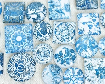 Mixed Size Mixed Shape Blue and White China Glass Magnet Set, Super Strong Glass Magnets, Rare Earth Magnet, Unique Gift Ideas, Porcelain